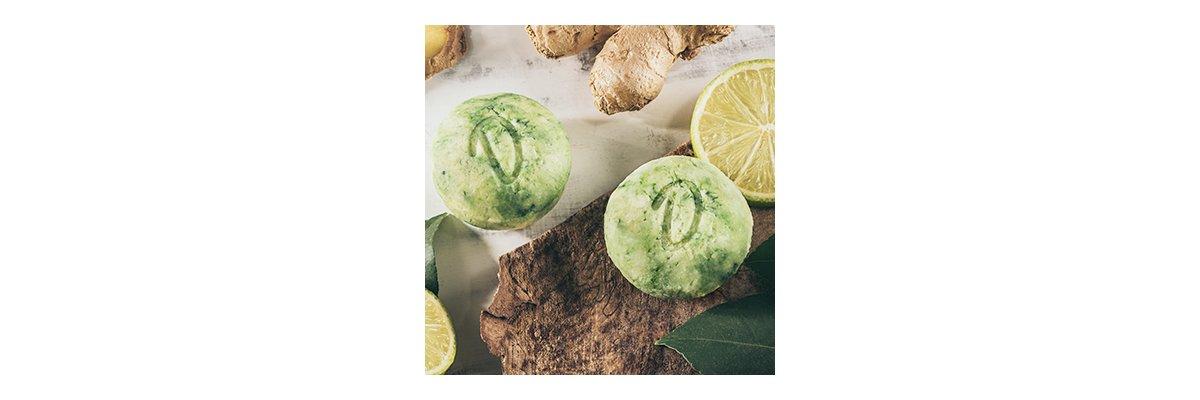 Duschkind festes Shampoo Ginger-Lime: Weiches Haar dank Babassuöl und Ingwer! -  Festes Shampoo Ginger-Lime bio Naturprodukt vegan mit Ingwer und einem Schuss Lime