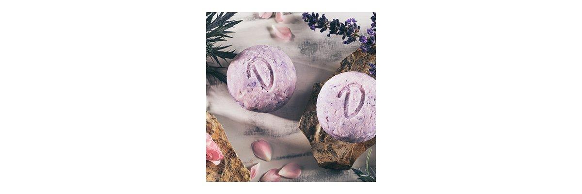 Duschkind festes Shampoo Lavendel-Rose mit Klettenwurzelöl - verführerischer Duft mit natürlichen Inhalten - Duschkind Lavendel-Rose natürliche Inhalte gesundheitsfördernde Wirkung bio Natur sulfatfrei