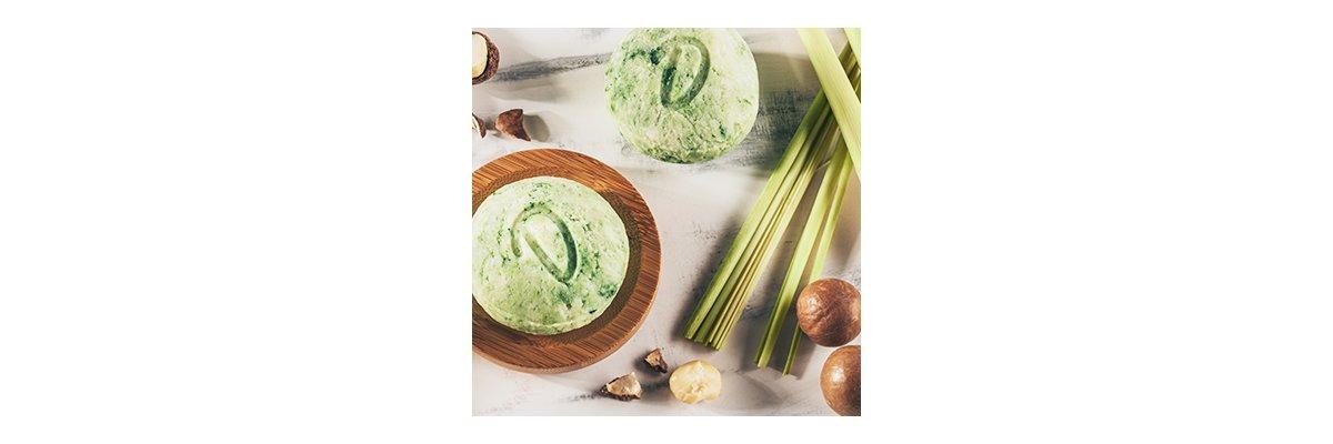 Duschkind festes Shampoo Lemongrass mit Macadamianussöl: Starte erfrischt in den Tag! - Festes Shampoo Lemongrass mit Macadamianussöl natur bio vegan ohne Verpackungsmüll pH-hautneutral
